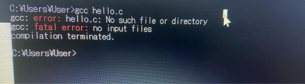 c言語練習始めた初心者です。 mingwをインストールし、パスを通しました。 その後 デスクトップに「hello.c」というファイルを作り、「hello.c」という名のメモ帳に #inclu...