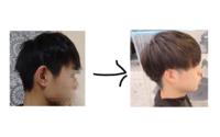 マッシュにしたくて悩んでます 左が自分で右が理想の髪型です  今の髪型から右の髪型にするにはどのぐらいの長さが必要ですか??