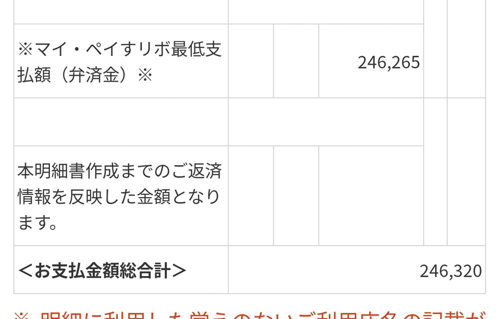 三井住友VISAカードについて質問があります。 「マイペイすリボ」という支払い方式になっていて、明細の意味がよくわからなくなってしまいました。添付画像の最低支払額(弁済金)というのは、この明細以...