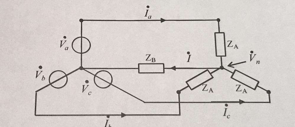 電気回路についての質問です。この回路に置いて中央接続点がなにも接続されていないとき(ZB=∞) (1)零相電流I (2)電位Vn このふたつの求め方を教えていただきたいです。