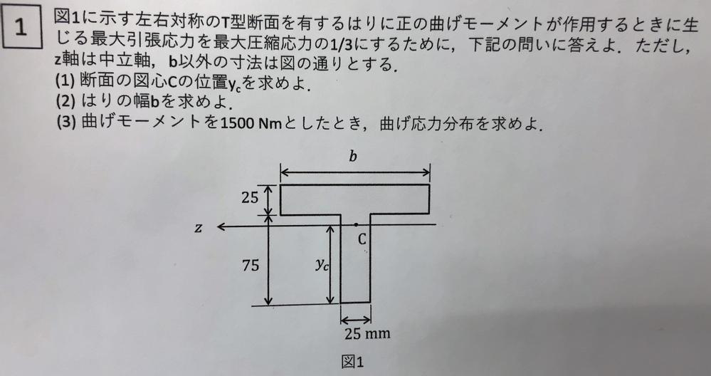 材料力学の、曲げモーメント、曲げ応力分布の問題です。画像の(3)番の解き方を教えてください。よろしくお願いします。bの値は225です。