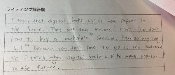 Do you think digital book will be more popular in the future . に対しての答えの採点をお願いしたいです あとライティングのコツなんか...