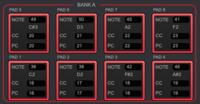 【MIDI規格 CC / PCについて】  使用機材:AKAI MPK mini mk3 使用ソフト:AKAI MPK Mini Ⅲ Program Editor  画像のNOTE, CC, PC欄について質問です。 私のざっくりした理解ですと、 NOTEは音色の数値、 CCはコントロールチェンジの略で連続可変系・スイッチ系などインプットの種類が割り当てられた数値、 PCはプ...