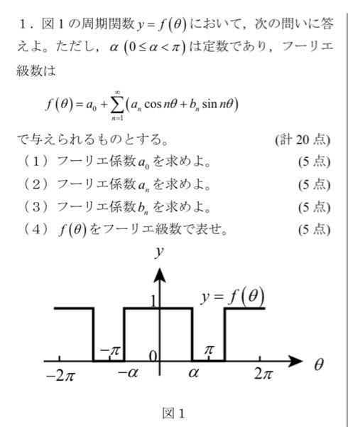 大学の数学です。フーリエ級数の単元です。わかる方途中式も含め宜しくお願いします。よろしくお願いします!