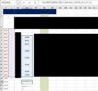 【エクセルでSUMIFにてvalueエラー(画像添付)】 エクセルで、添付画像のようにSUMIFを使うとvalueのエラーがでます。 ※混乱を避けるため、不要と思われる部分は黒塗りにしてます。  ・書式は数値 ・合計範囲の空白を除いても変化なし  原因が予想できる方、ご教授お願い致します。