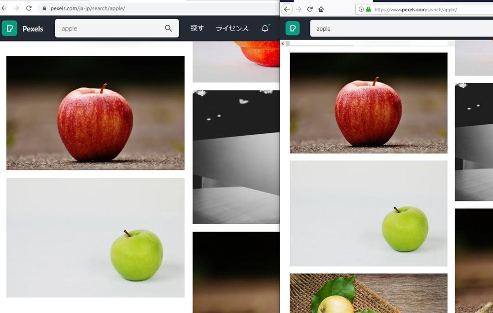 Chrome と Firefox で同じ写真の表示サイズが異なる。 Chrome(添付の左側)の方が実サイズよりも拡大されて表示されるようです。 Firefoxは画像の実寸サイズで表示されます。 なぜ