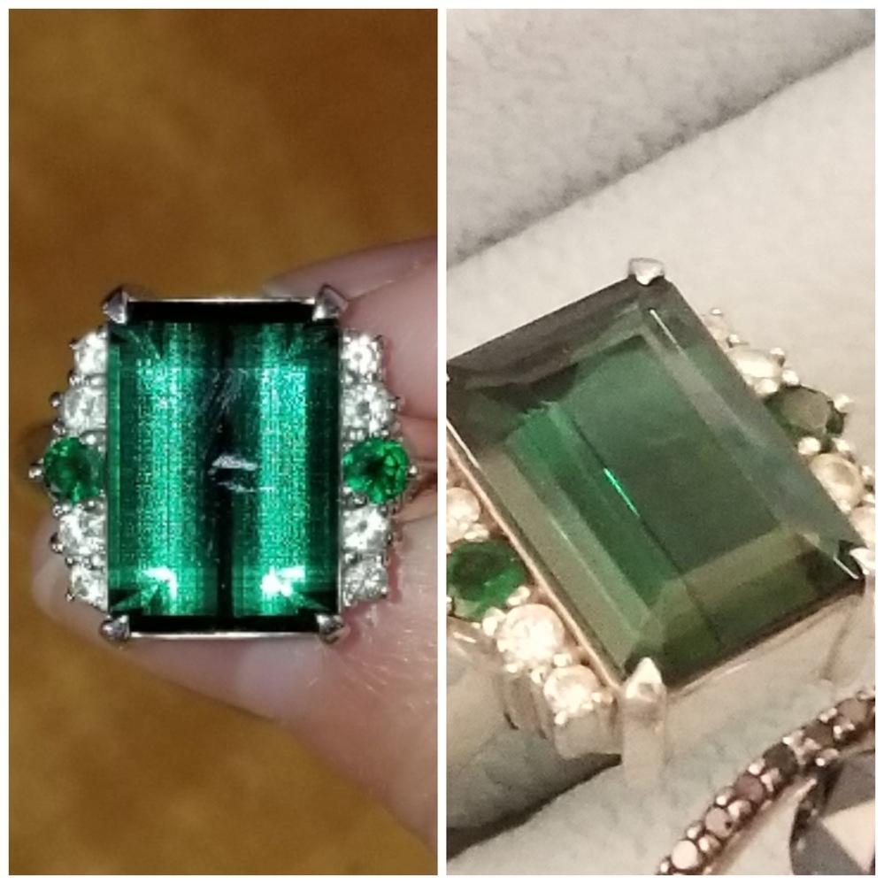おばあちゃん家にあった宝石の名前がわかりません。 ・室内光で見てみると黒がかった緑(深緑)に見えます。 ・フラッシュ撮影をしてみると、普通の緑と言うよりかは、少し青みがかっているような緑に見えます。 ・おばあちゃん曰く、名前には濁点が入っていたかも知れない、ということです。 どれだけ調べても、それっぽい宝石は見当たりません。わかる方いらっしゃいますか?