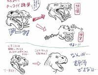 恐竜のティラノサウルスはもしかしてカバもしくは老犬の様な顔をしてた可能性もあったのですか!? なにせよ生きている恐竜を誰一人見た事ないからさもしかたらカバあるいは老犬の様な顔をしていた可能性もあるのではと思って.だからあり得るかどうか教えて下さい!!  (この画像の様に。因みに上に居るのはカバです)