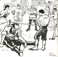 下の風刺画は日露戦争のものらしいのですが、後ろで話している人はどこの国の人で、なんと言っているのでしょうか?