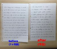 筆記体の練習をして約1ヶ月経ちました。だいたいの形は覚えられたのと文字と文字のスペースを狭めたことでより筆記体の単語っぽくなりました。ですが、今苦戦してるのが一筆書きで書く時の文字と文字の繋げ方です...