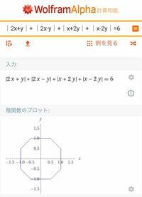 幾何学模様をxy座標の絶対値による関数を描くとき、下のように八角形風の図形を描くことはできますが、 比較的キレイな形の五角形や、六角形を描くことはできますか?  https://ja.wolframalpha.com/input/?i=│2x%2By│%2B+│2x-y│%2B│x%2B2y│%2B+│x-2y│%3D6  三角形や、四角形は下のURLに紹介されてあります https://b...