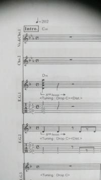 このギター1の楽譜とtab譜で構成音が変わるんですがその理由わかる方いますか? この楽譜では全音変わるんですがほかの楽譜では2度変わったりします 楽譜の上のDmはスケールの名前ならまだわかるんですがコード名だとすると楽譜ともTAB譜とも合わないのでそれも分かりません