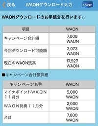 WAONマイナポイントの件です。 2万円チャージしてマイナポイント5000円、WAON2000円、合計7000円のマイナポイントを受け取れるものと思っています。 受け取り方を調べ、WAONアプリでチャージ→WAONダウンロード入力を見てみると、キャンペーン合計額は7000WAONになっています。 しかし今回ダウンロード可能額が2073WAONと表示されており、7000WAON受け取れませ...