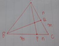 鳩の巣?m、n≠0ならAPとBQは交わるのは自明ですよね? 敢えて証明するならどう書けばいいでしょうか? Aが映っていないですが、てっぺんがAです。