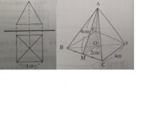 図は四角錐の投影図である。立面図が正三角形、平面図が1辺4cmの正方形であるとき、この立体の体積を求めなさい。 右は解説の図です。AM=4cmはどうやって出たのでしょうか? また、正三角形だからCD=AC=4cmとするのは間違いですよね?
