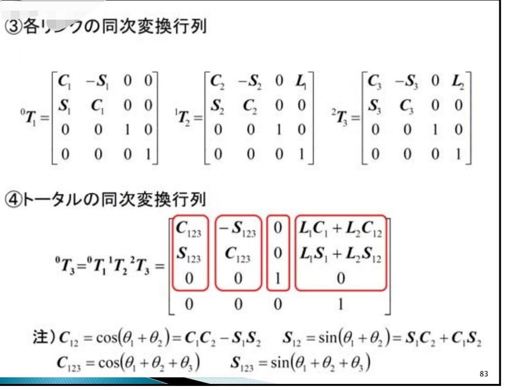 同次変換行列の計算方法を教えて下さい。画像の各リンクの同次変換行列をどのように計算したらトータルの値になるのでしょうか?