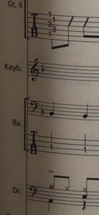 バンドでキーボードを担当することになったのですが今までピアノしか弾いたことがなくバンドスコアというものを初めてみたものです。 キーボード担当はこの楽譜のKeybと書かれた一段だけ担当なのでしょうか それとも普通のピアノの楽譜のようにBaと書かれた段の上部分も弾くのでしょうか 何もわからず申し訳ないのですがよければ教えてください