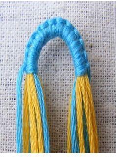 ミサンガの編み始めを画像のようにやりたいのですがやり方がわかりません わかる方教えて下さい!また、やり方が載っているサイトなどがあれば教えて欲しいです!