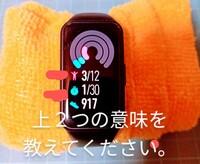 huawei honor band 6を購入しました。 日本語に対応してないので 説明書が読めません 。しかし何とか楽しんでいます。 この二つのマークの意味を教えてもらえませんか。 他のマークの意味も 調べたいのですが どこで調べたらいいでしょうか?