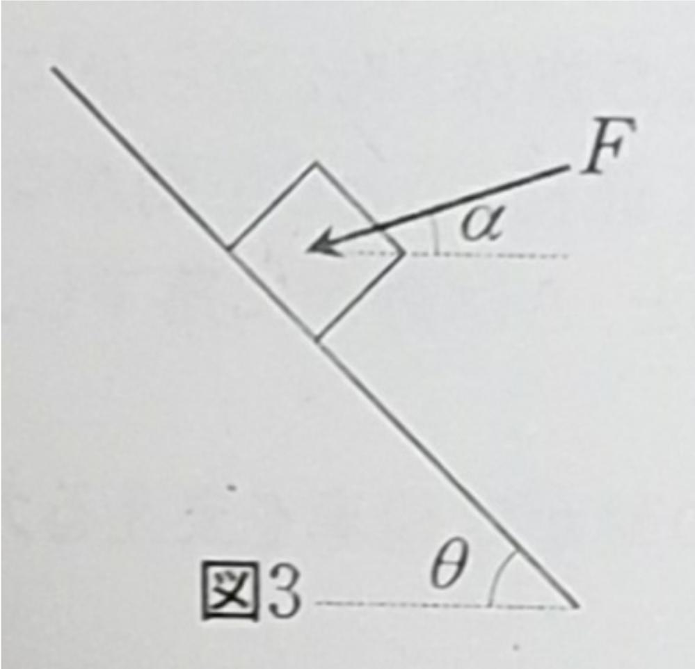 水平から角度θ[rad]の滑らかな斜面に置かれた質量m[kg]の物体に、図3のように、水平から角度αの向きにカF[N]を加え静止させたい。Fの値をm、g、θ、αの中から必要な文字で表せ。 また、...