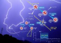 【雷による陽電子生成に関する質問】 NHKのEテレで2/21に放送されたサイエンスZERO。 北陸地方で発生する破格のエネルギーを持つ雷、スーパーボルト。 この雷の発生が、ガンマ線を励起し、空気中の窒素に影響を及ぼすことで炭素へ変化、 その際に陽電子とニュートリノが発生。 その陽電子が、空気中の電子と衝突して対消滅を起こしている。 その証拠が、検出される511eVのガンマ線。  この現象と研...