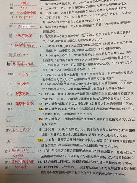 日本史の質問です。 左の14.15.17 わかるところだけでもいいので教えて欲しいです。
