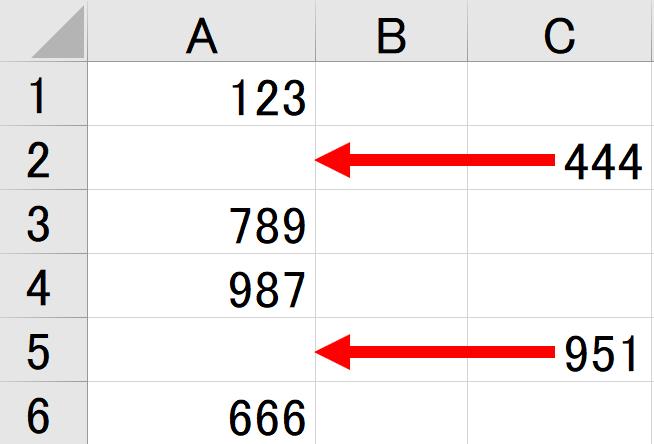 歯抜けになったセルにデータを貼り付ける方法を教えてください。 エクセル2019 図のようにA列に文字が歯抜けで入力されています。 C列にはその歯抜けの間に入る文字があります。 A列には2000行...
