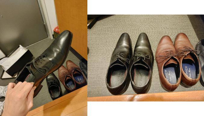 就活での靴について。 就職説明会があるのですが、この黒の皮靴は向いてないでしょうか? 先がとんがっている気がして… 回答お願いします。
