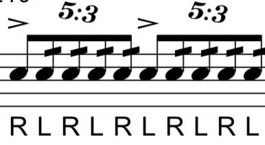マーチングをやっているものです。この5:3という表記はどういう意味でしょうか。