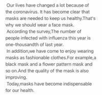 """Should we wear a face mask?"" この英語のライティングの添削をしてください"