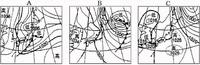 天気図の問題がわかりません。わかる方、教えて下さい。 下の図は、3日間の正午の天気図である。ただし日付順で並んでいない。 (1)図のA~Cの記号を日付が早い順に並べなさい。 (2) (1)のように答えたのはなぜか。その理由である「低気圧や前線は・・・・・から。」の文章を完成させなさい。