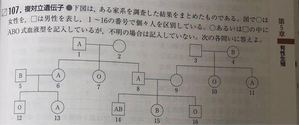 高校生物の質問です。2番の人がAOの人と再婚した場合B型の子が産まれる確率が1/12になる理由が分かりません。2番の人のところを(A.B.O) 再婚相手を(A.O)と考えるとこたえが1/6になっ...