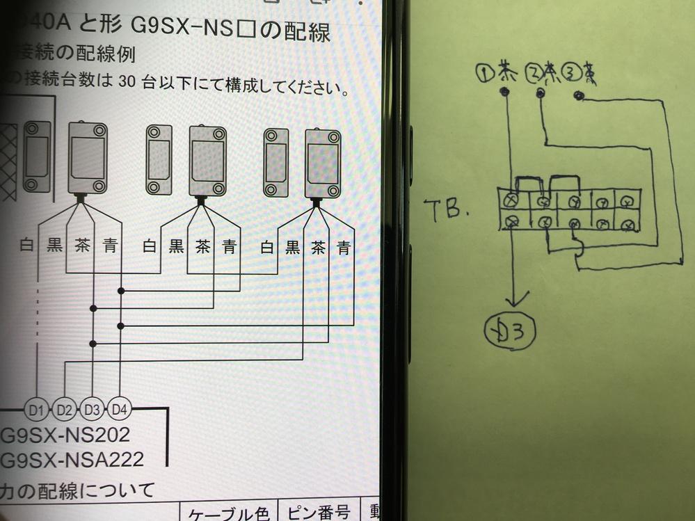 電気配線についてです。 OMRONのG9SX-NSAにD40Aドアスイッチを配線する際、取説に茶、青線は添付画像の通り指示があります。 こちら茶配線を実配線するにあたり添付画像の方法しか浮かば...