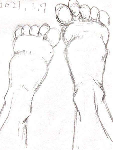 【人物の描き方について質問です】 アタリを描いて、写真を見ながら足を描きました。描きたい足は「足の甲が奥にある女性の足」です…(´;︵;`) 寝そべっているつもりです。 どこか不自然な足になって...