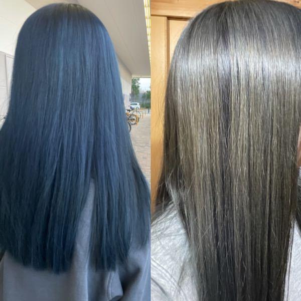 4日の日に髪の毛を青に染めたのですが、8日の時点で右の写真のように色落ちしてしまいました。 青は色落ちが早いと聞きましたが、こんな早いものですか?(1回ブリーチをして染めました)