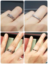 結婚指輪の幅とダイヤ付かで悩んでいます。 ブランドは婚約指輪と同じところに決めており、ストレートでシンプルなプラチナのものと決めています。   ①指輪を見始めて最初にビビっときて候補にずっとあるものが、写真上の小さなダイヤが5石ついた、鍛造リングのプラチナのものでした。幅が2.2ミリです。   ②下段は、たまたま百貨店に行ったときに同ブランドを見つけて悩んでいるものです。 こちらは百貨店店舗...