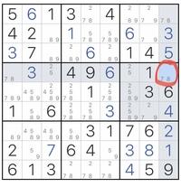 ナンプレについて質問です。 赤丸をつけたところは、7が入るのですがなぜ7になるのか理解できません。 わたしのナンプレのやり方は、画像のようにメモを取って、縦9マス、横9マス、正方形の9マスのうち、その数字しか入らないところにはその数字を埋めて、というふうに進めていき、だんだん埋めていくというやり方です。中級ぐらいまではこれで最後まで進みます。しかし、少し難しいレベルにチャレンジすると、縦横...