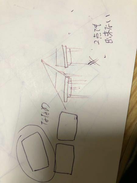 写真の左側のような斜めの机を描きたいです。ただし、まっすぐな机の隣に描きたいです。 一点法でも二点法でも書けません。美術部の人に聞いてもわかりませんでした。どなたか教えてください 簡単な図で説明してくれるとわかりやすいかもです。