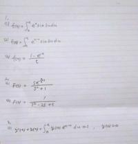 ラプラス変換の問題の解法を教えていただきたいです。 1,関数f(t)のラプラス変換F(s)を求めよ。 2,関数F(s)の逆ラプラス変換f(t)を求めよ。 3,ラプラス変換を用いて微分方程式を解け。  1, (1),(2)は積分を解いた後どうラプラス変換すればいいのか分かりませんでした。 (3)はどう解けばいいのか分かりません。  2, (1)を手計算したらU(t-(π/4))cos(t-(π...