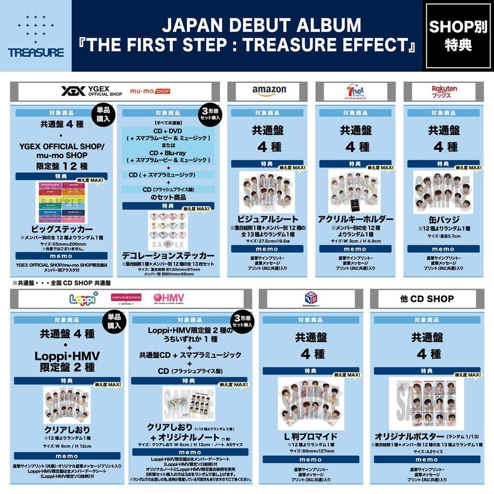 TREASUREの日本アルバム買おうと思ってます。 初回限定盤買えるギリギリまで悩もうと思ったのですが、あまりにも決められないので、助けてくれると嬉しいです。 どこで買ったらいいと思いますか? との特典も欲しくて・・・。 mu-moで最初考えてたんですけど、もう考えがまとまらないので、誰か一緒に考えてください、、、 セットじゃなくてもいいんですけど、