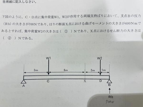 両端支持梁の計算問題で分からないため 詳しい方おられましたらお願いしたいです。 画像みにくかったらコメントで問題を補記します!