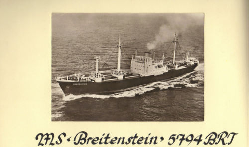 この船(Breitenstein ツイド 1956)はドイツとアメリカ(東海岸)を結ぶ航路に就航しましたが、ブレーメンにも寄港しました。 ブレーメンでどんな貨物を積んだかわかりますか? ※「世界定期船会社」(1959)には「Hamburg Bremen Antwerp Rotterdam Baltimore Norfolk Newport News Hampton Roads (Morehead City) Philadelphia (Albany) New York」に寄港したと書いてあります。