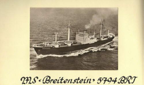 この船(Breitenstein ツイド 1956)はドイツとアメリカ(東海岸)を結ぶ航路に就航しましたが、ブレーメンにも寄港しました。 ブレーメンでどんな貨物を積んだかわかりますか? ※「世界定期船会社」(1959)には「Hamburg Bremen Antwerp Rotterdam Baltimore Norfolk Newport News Hampton Roads (Morehe...