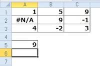 counta関数で質問です。 A1:C3の範囲の個数を数える際に、画像のようにエラー「#N/A」が出た場合、エラーをカウントしないようにA5に関数を組むことはできるでしょうか? エクセル2010使用。