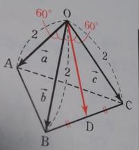 正四面体OABCの OAとODのなす角はなんで 単純に30°+60°じゃないんですか?