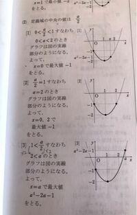 問題文 aは正の定数とする。関数y=x²-2x-1(0≦x≦a)について、最大値を求めろ。という問題でなぜこういう風に場合分けされるのか分からなくて教えて欲しいです