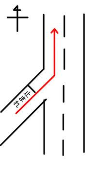 道路交通法について質問です。 自動車運転免許をまだ持っていないので勉強させてほしいのですが、画像における赤矢印の進路で走行する際、一時停止の位置で出すウインカーは右と左のどちらが正しいのでしょうか。