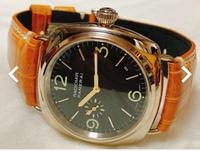腕時計に興味がお有りの方!!  オレンジのクロコダイルベルトが似合う腕時計を探しております。 写真はラジオミールのホワイトゴールドモデルですが、こんな感じで良い雰囲気になる腕時計をご存知ないでしょうか。  ※出来れば40万円以内 ※出来れば自動巻き ※ケースは42mm以内  何卒宜しくお願いします。