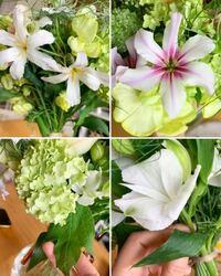花の名前が分かりません 花束をもらったのですが、花の名前が分かりません! どなたか詳しい方、教えてください!   上2枚は同じ花で色違いだと思います。 どの花でもいいのでわかる方お願いいたします