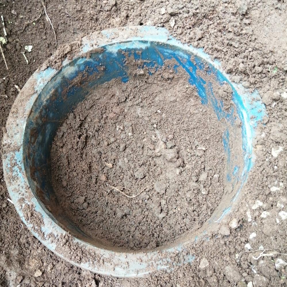 この青いものはなんでしょうか?結構深くまで埋まっていて抜こうとしても全く動きません。 わかる方がいれば教えてください。 なお、掘り起こしても大丈夫なものでしょうか?